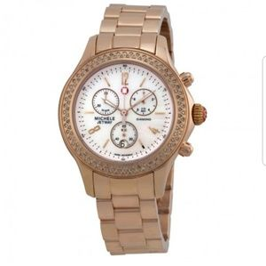 Michele Rose Gold Jetway Diamond Watch